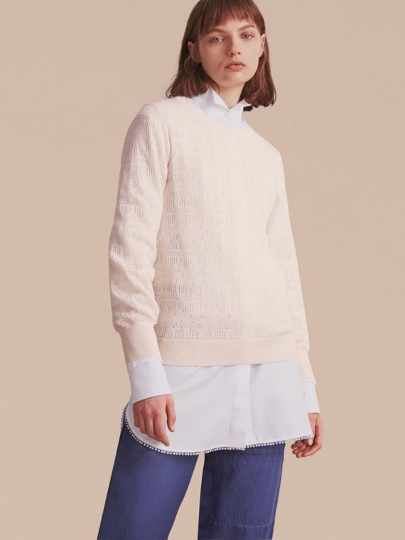 Lace Trim Knitted Wool Cashmere Sweater in Natural White