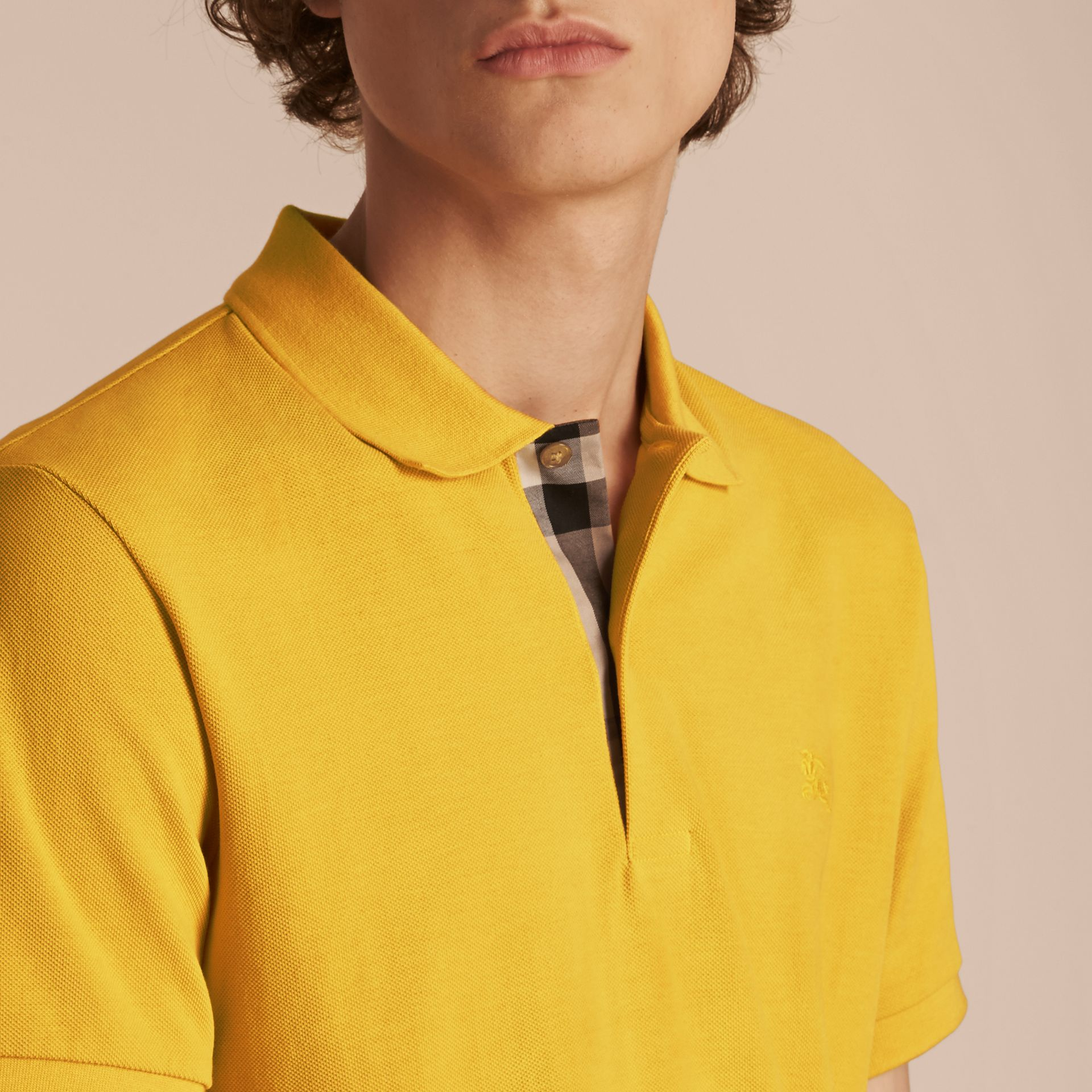 Check Placket Cotton Piqué Polo Shirt in Daffodil - gallery image 5