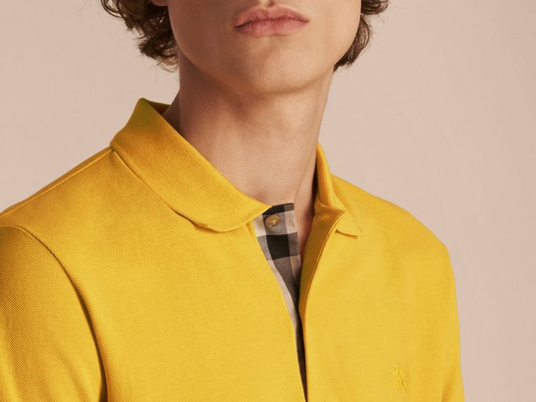 Check Placket Cotton Piqué Polo Shirt in Daffodil - cell image 4