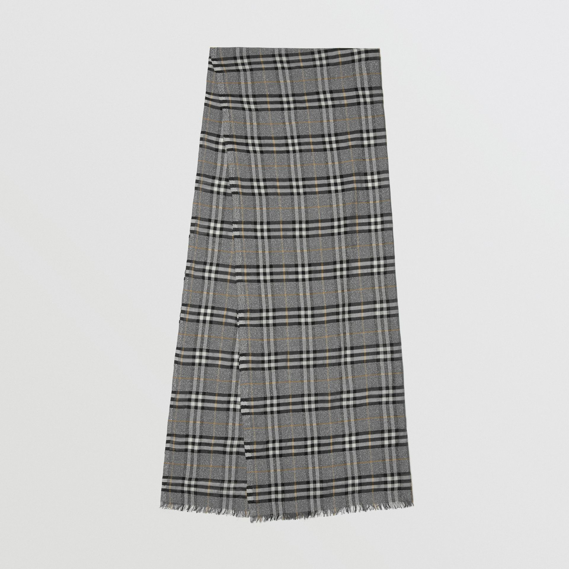 Metallic Vintage Check Wool Silk Blend Scarf in Pewter Grey | Burberry - gallery image 0