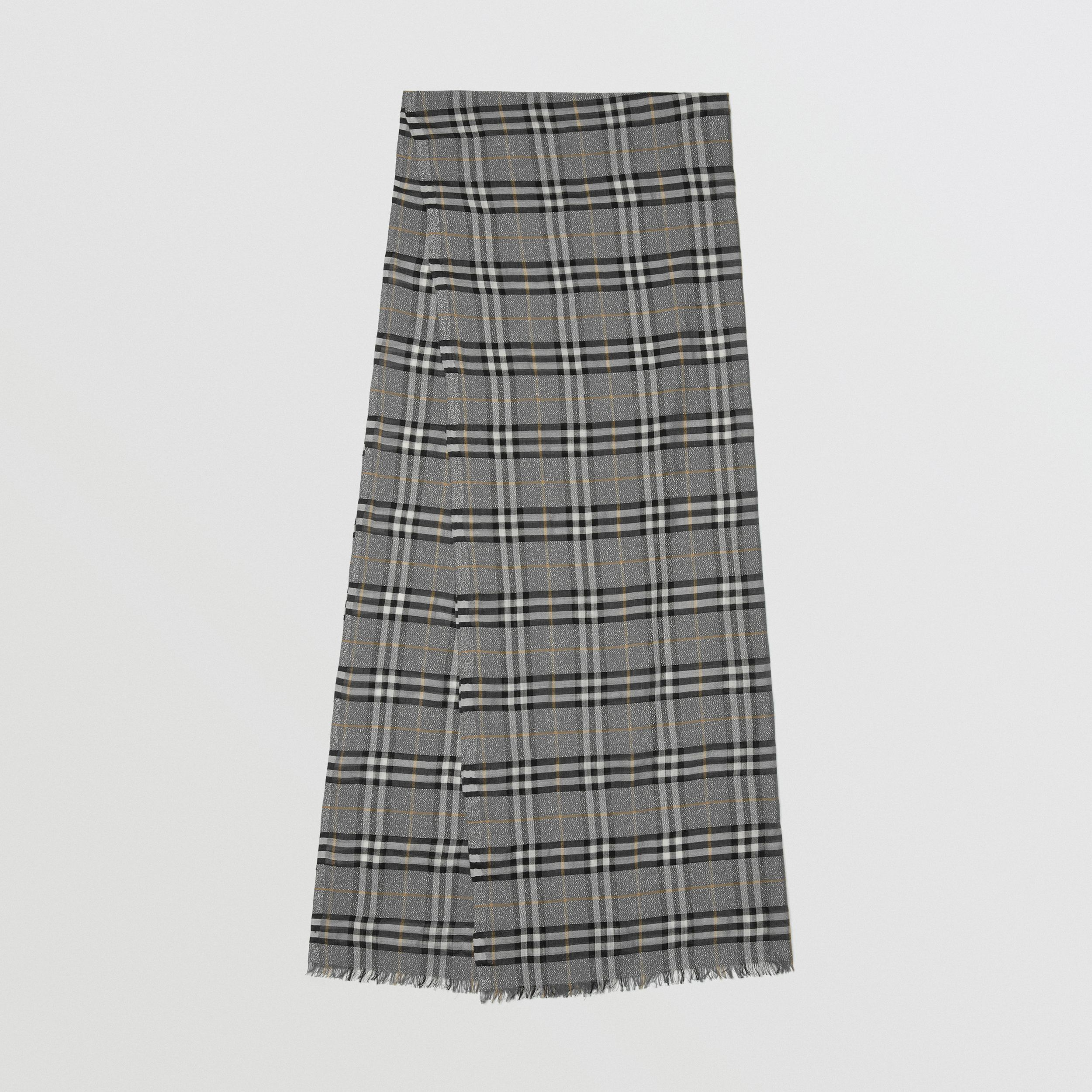Metallic Vintage Check Wool Silk Blend Scarf in Pewter Grey | Burberry - 1