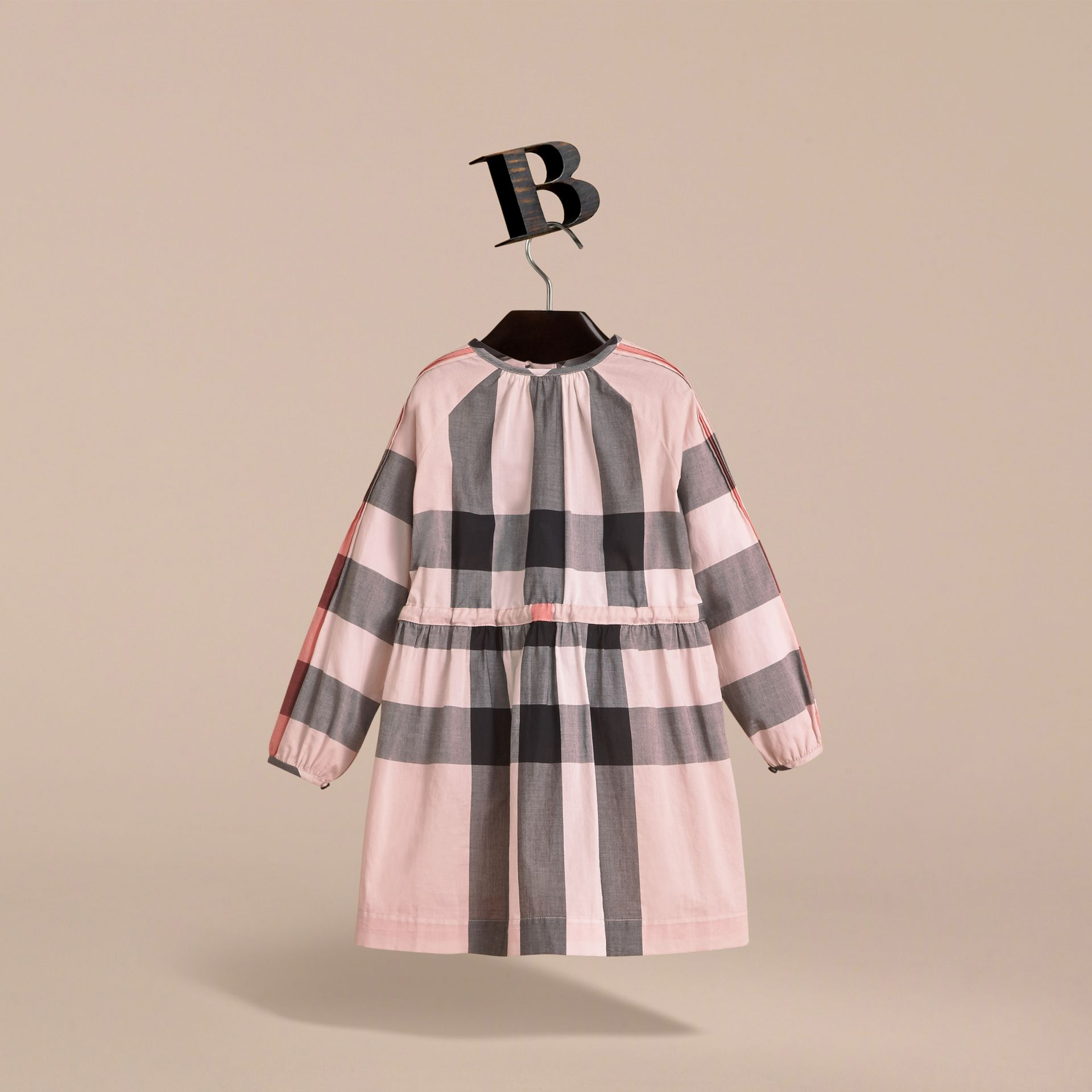Collarless Check Drawcord Cotton Voile Dress in Vintage Pink - Girl | Burberry - gallery image 4