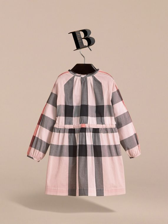 Collarless Check Drawcord Cotton Voile Dress in Vintage Pink - Girl | Burberry - cell image 3