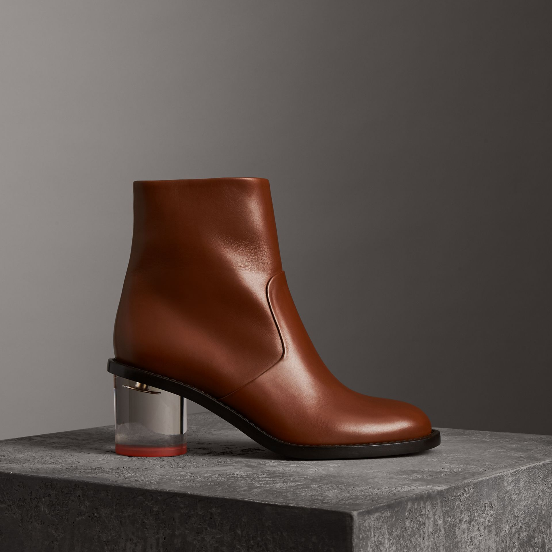 Two-tone Leather Block-heel Boots in Cognac - Women | Burberry United Kingdom - gallery image 0