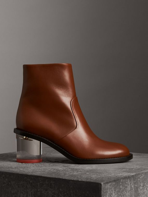 Two-tone Leather Block-heel Boots in Cognac
