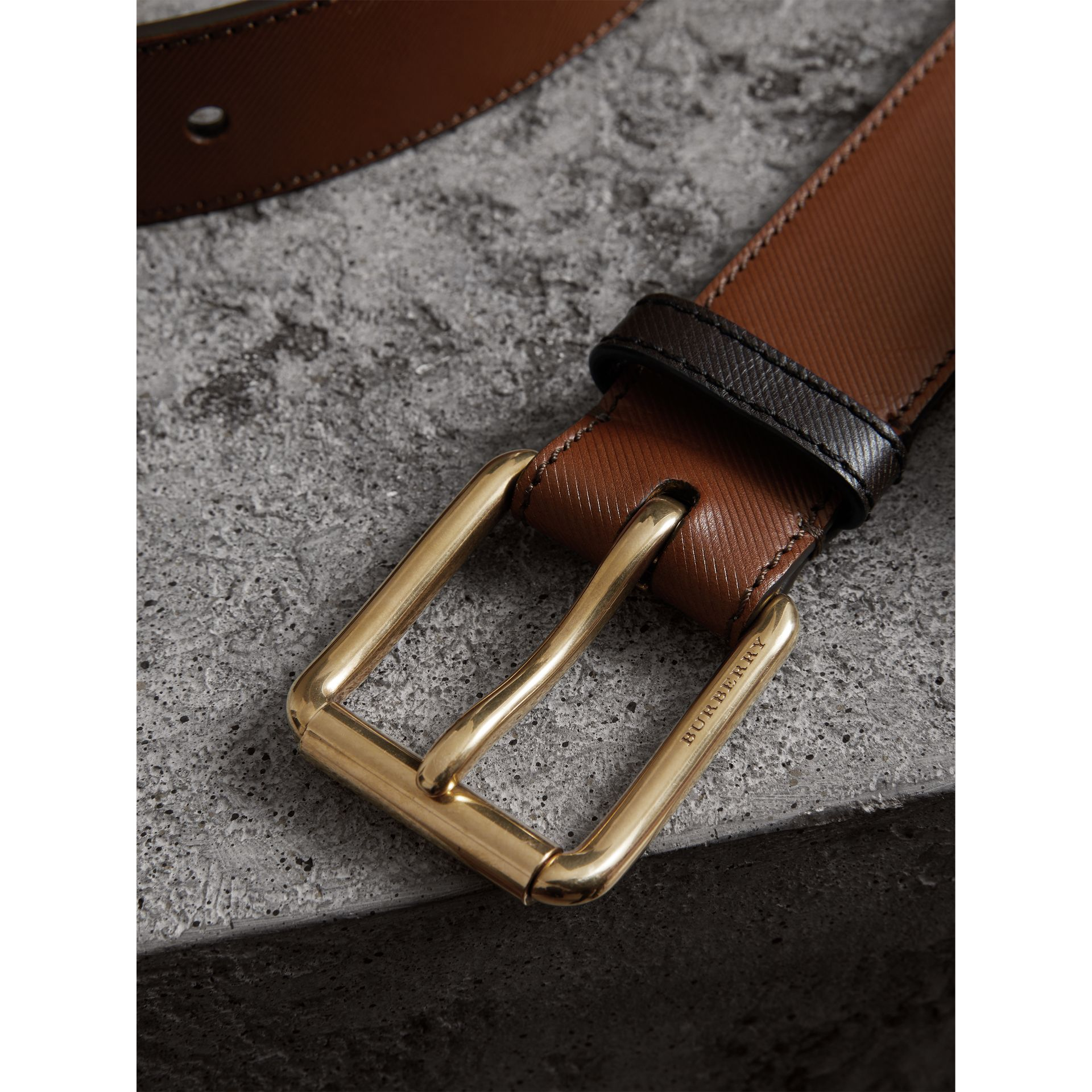 Two-tone Trench Leather Belt in Tan - Men | Burberry - gallery image 1