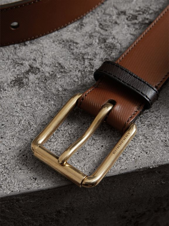 Two-tone Trench Leather Belt in Tan - Men | Burberry - cell image 1
