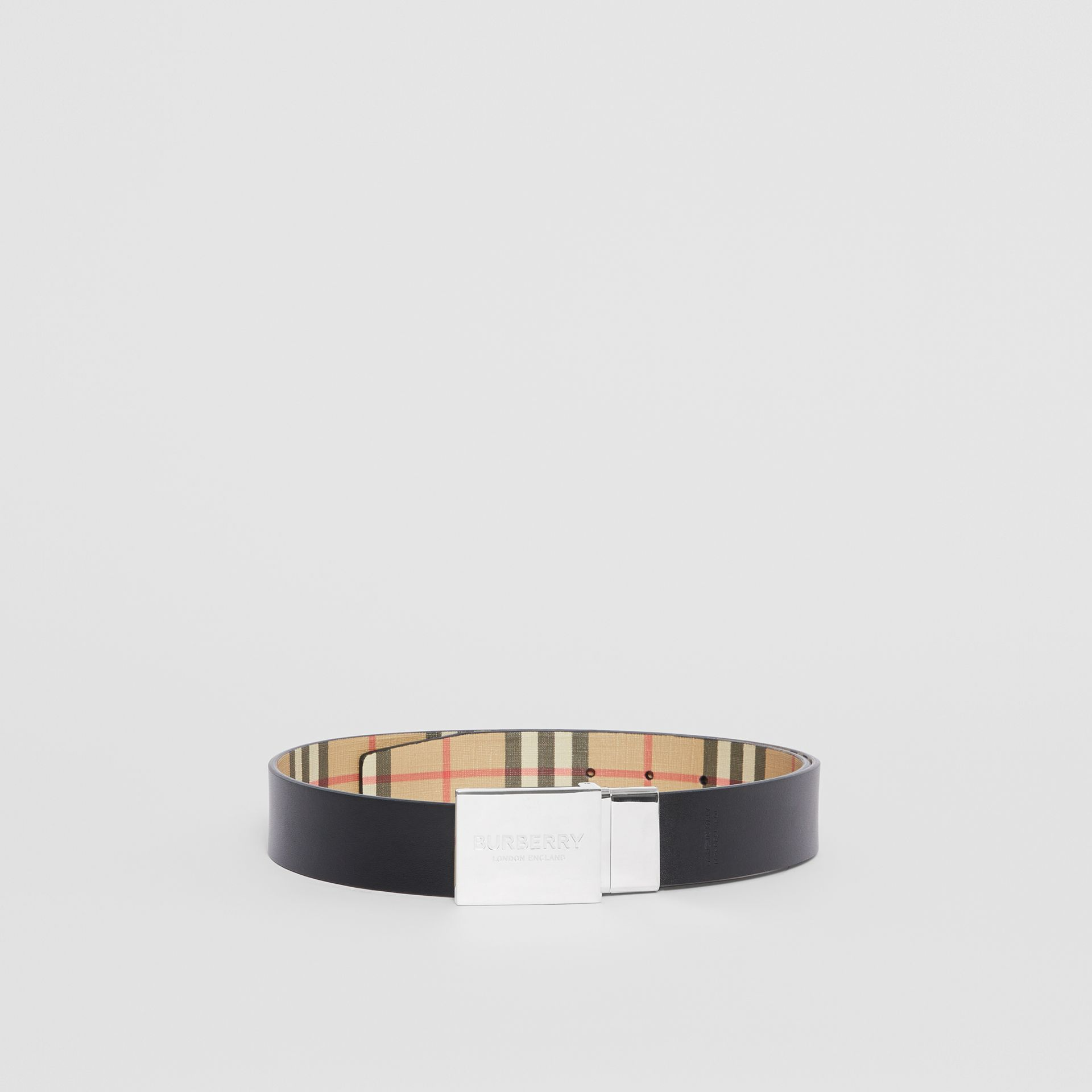 Reversible Plaque Buckle Vintage Check E-canvas Belt in Archive Beige - Men | Burberry Australia - gallery image 5