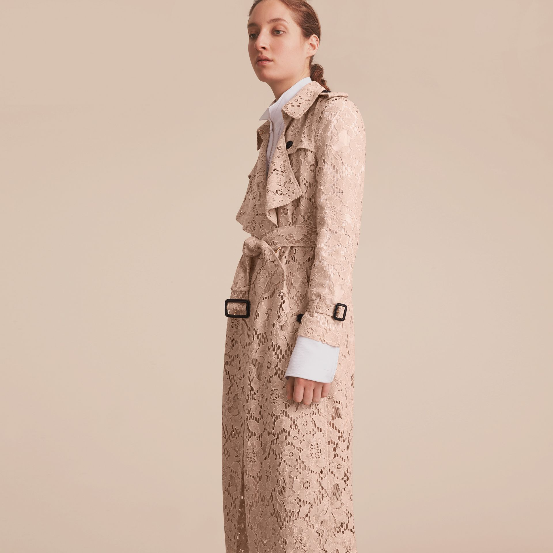 Macramé Lace Wrap Trench Coat - gallery image 7