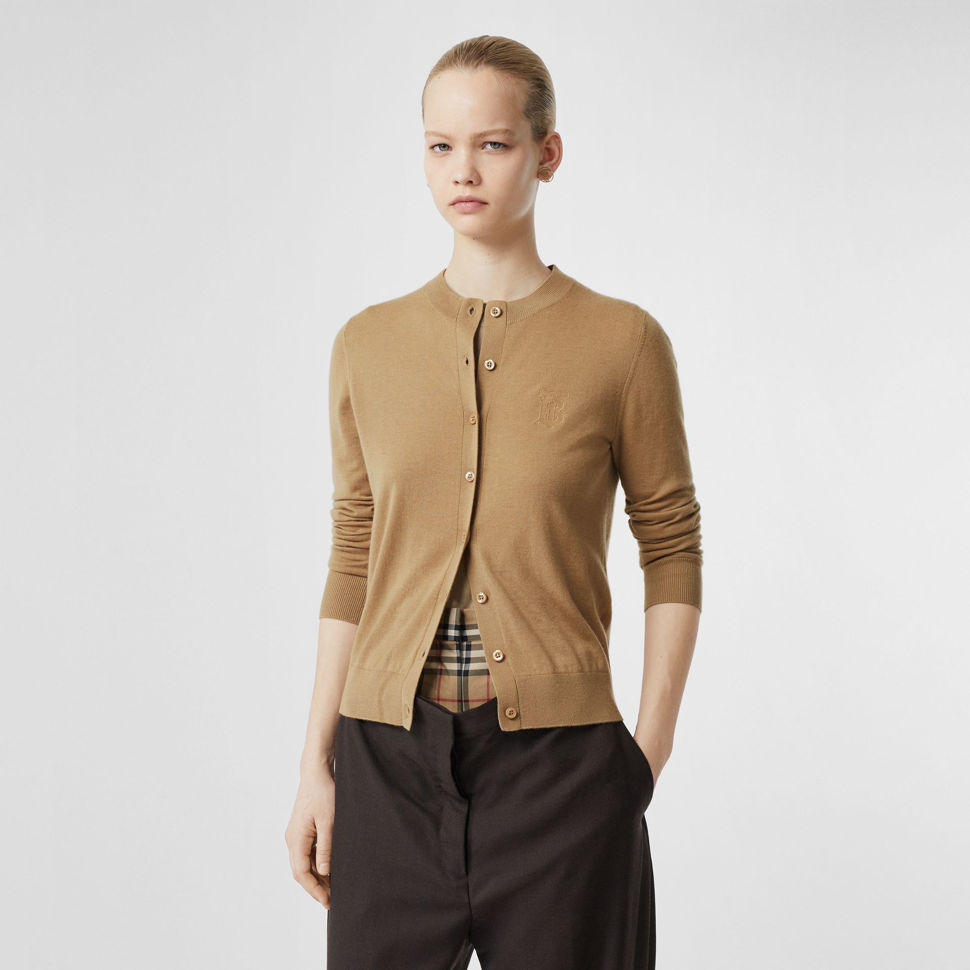 Monogram Motif Cashmere Cardigan in Camel - Women | Burberry - gallery image 4