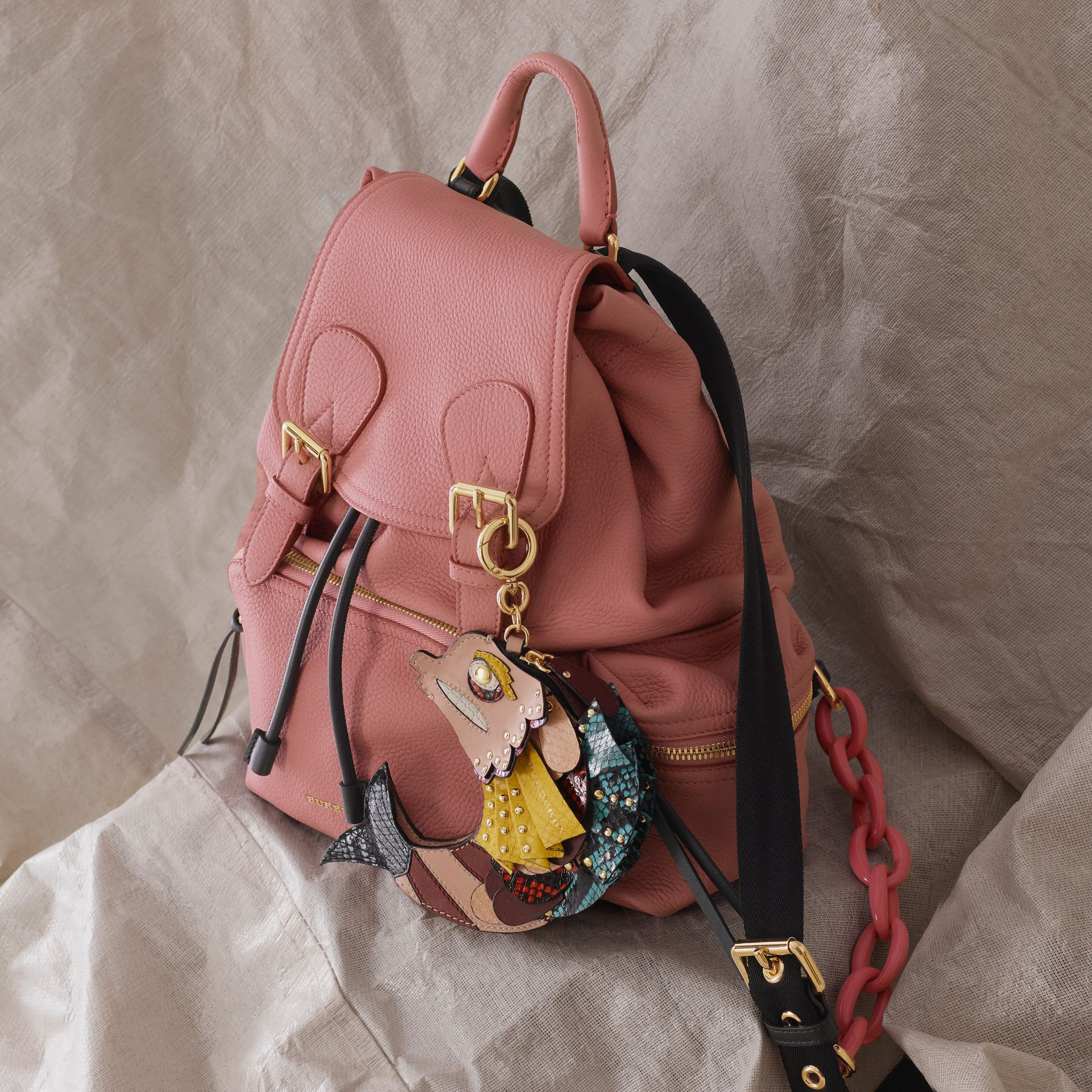The Medium Rucksack in Deerskin with Resin Chain in Blossom Pink - Women | Burberry - gallery image 8