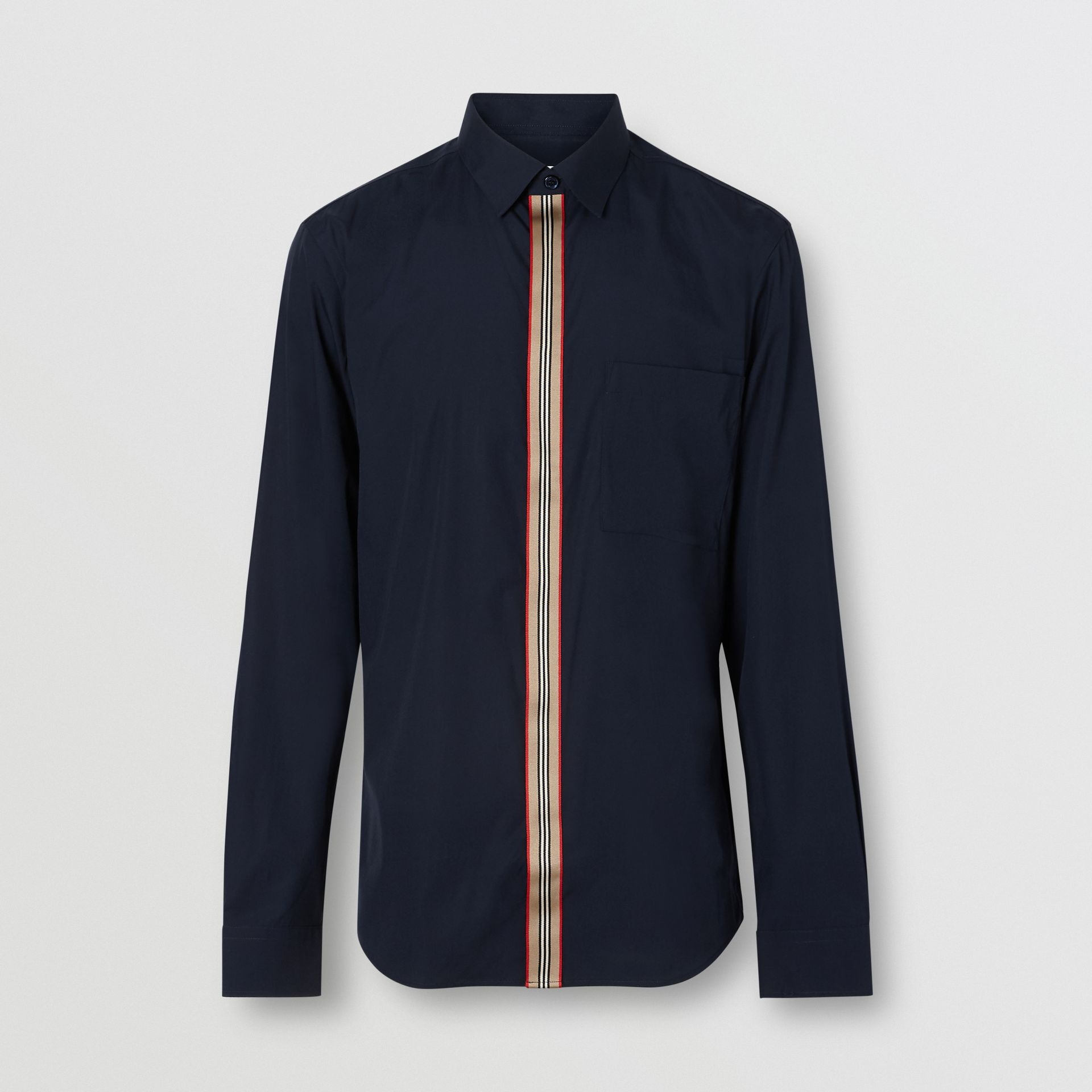 Icon Stripe Detail Stretch Cotton Poplin Shirt in Navy - Men | Burberry - gallery image 3