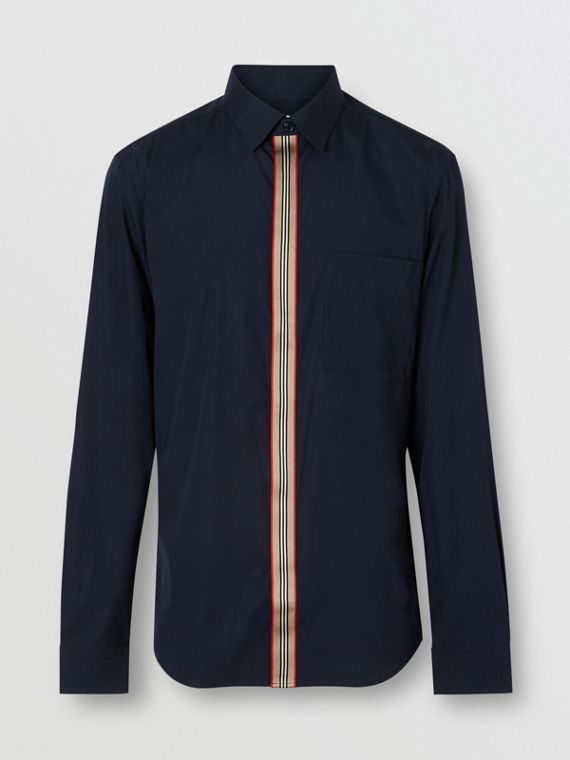 Icon Stripe Detail Stretch Cotton Poplin Shirt in Navy