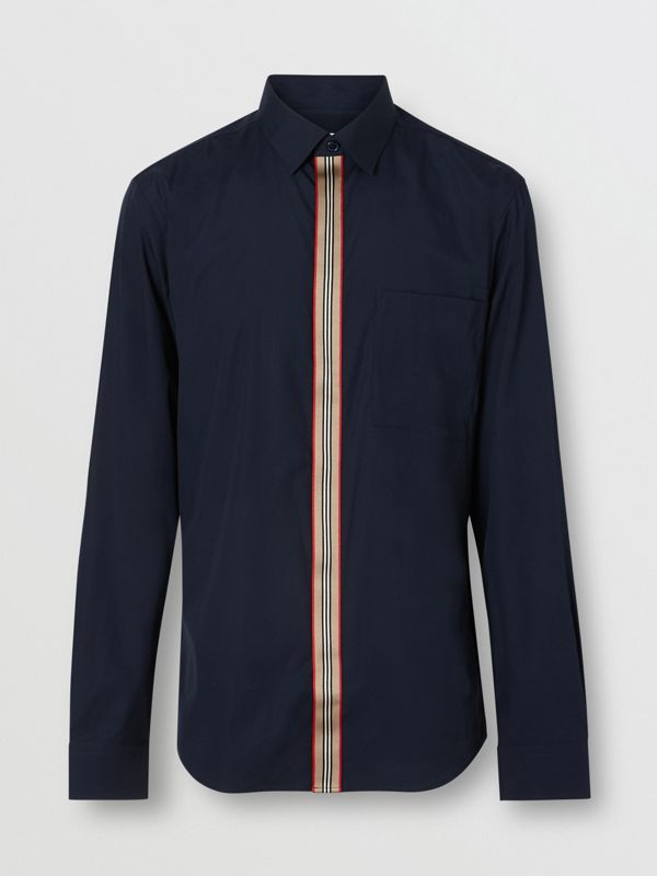 Icon Stripe Detail Stretch Cotton Poplin Shirt in Navy - Men | Burberry - cell image 3