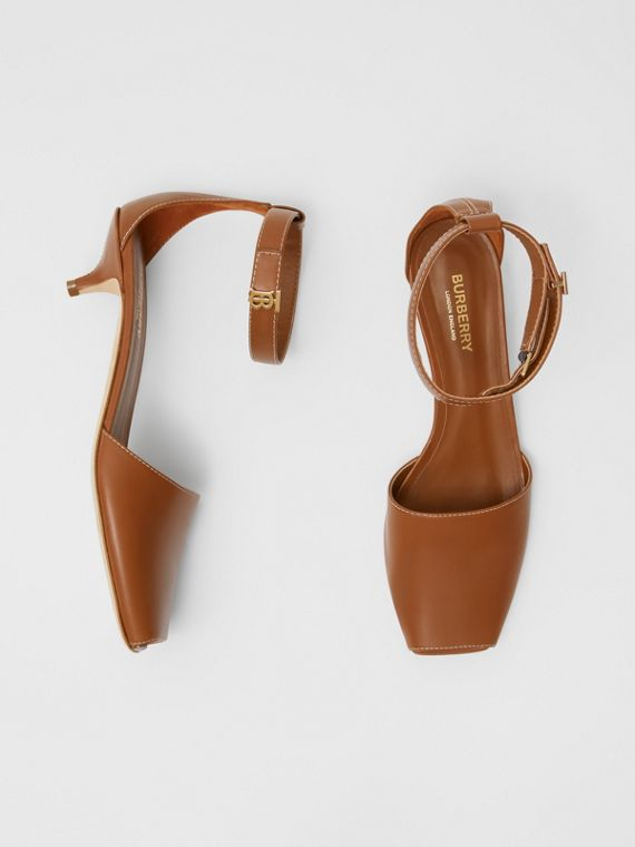 Monogram Motif Leather Kitten-heel Sandals in Tan