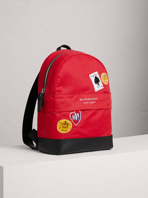 Appliquéd Nylon Backpack in Military Red