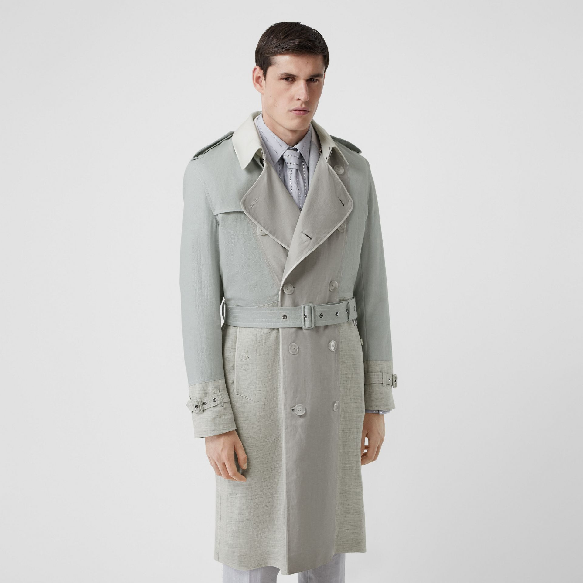 Panelled Linen Trench Coat in Light Pebble Grey - Men | Burberry - gallery image 5