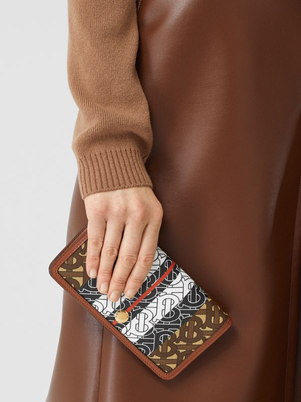 Monogram Stripe E-canvas Phone Wallet with Strap in Bridle Brown - Women | Burberry Hong Kong S.A.R - cell image 2