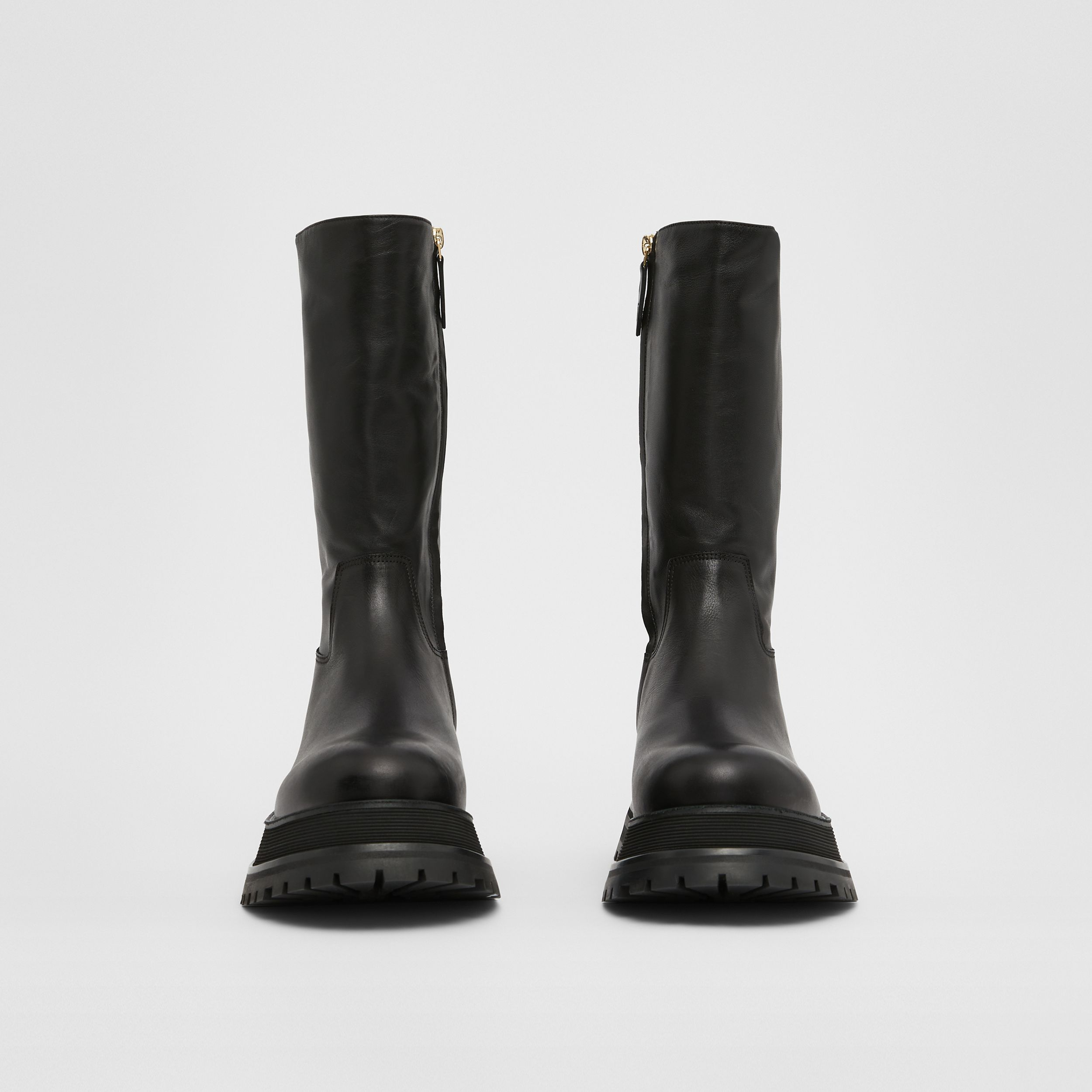Leather and Lambskin Boots in Black - Women | Burberry - 4