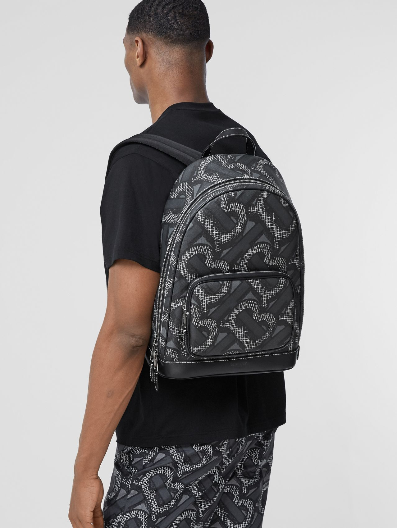 Monogram Print E-canvas Backpack (Graphite)