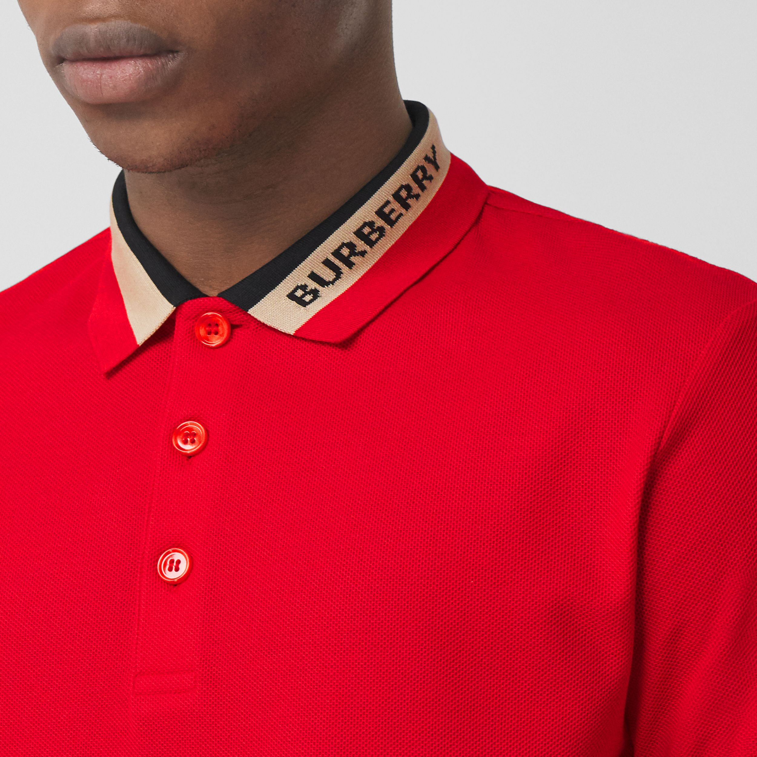 Logo Detail Cotton Piqué Polo Shirt in Bright Red - Men | Burberry - 2