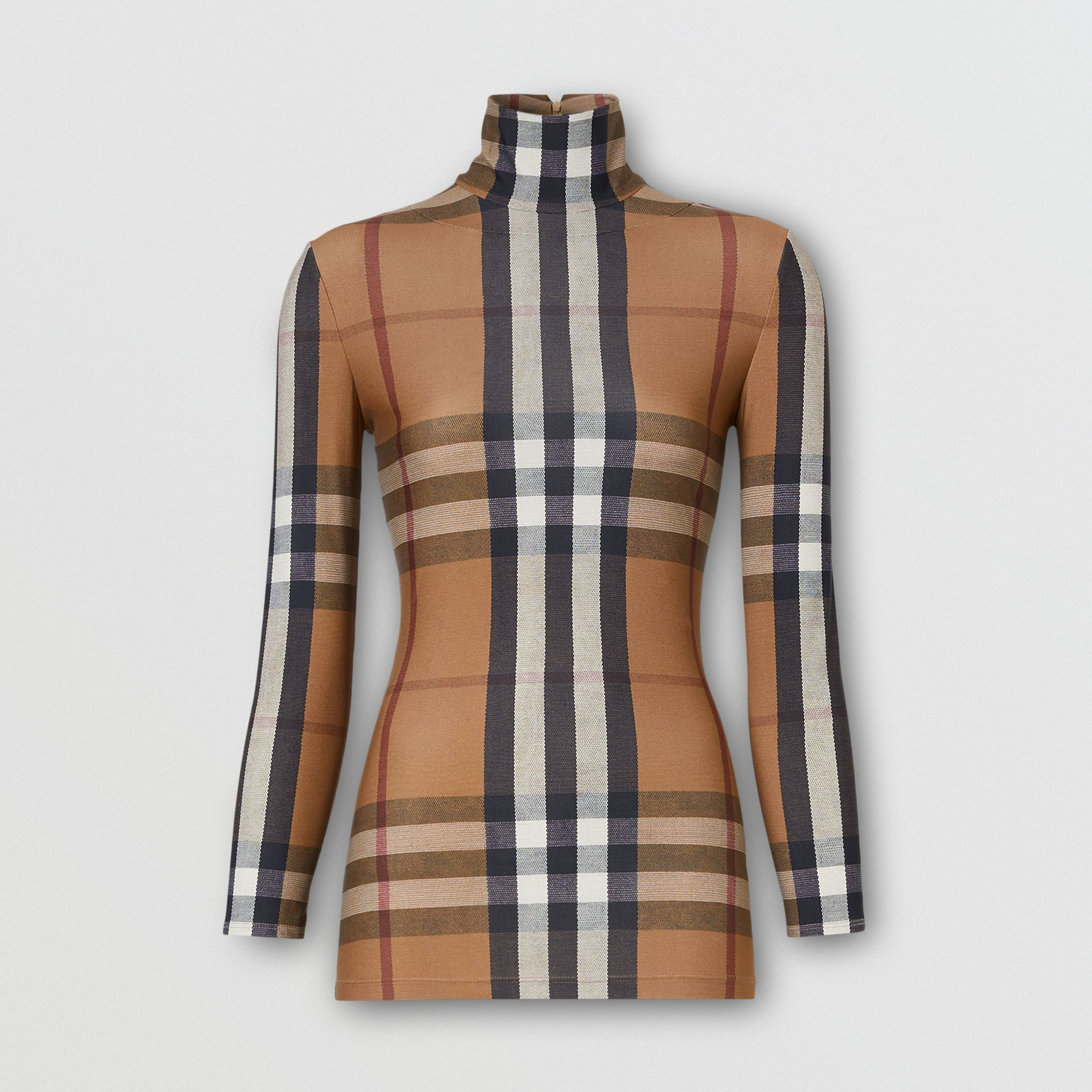 Check Stretch Jersey Turtleneck Top in Soft Fawn - Women | Burberry - 4