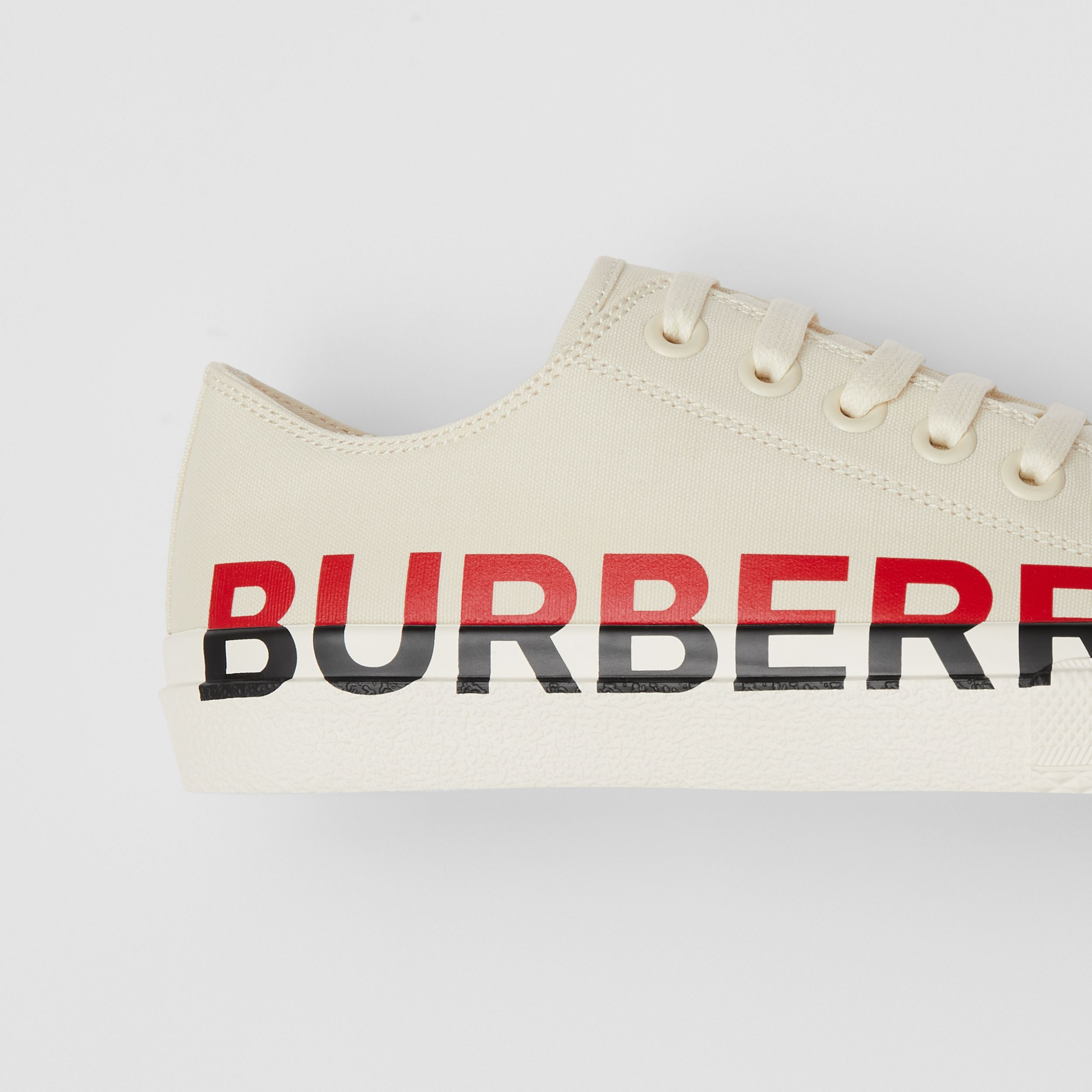 Logo Print Cotton Canvas Sneakers in Cream - Women | Burberry United States - 2