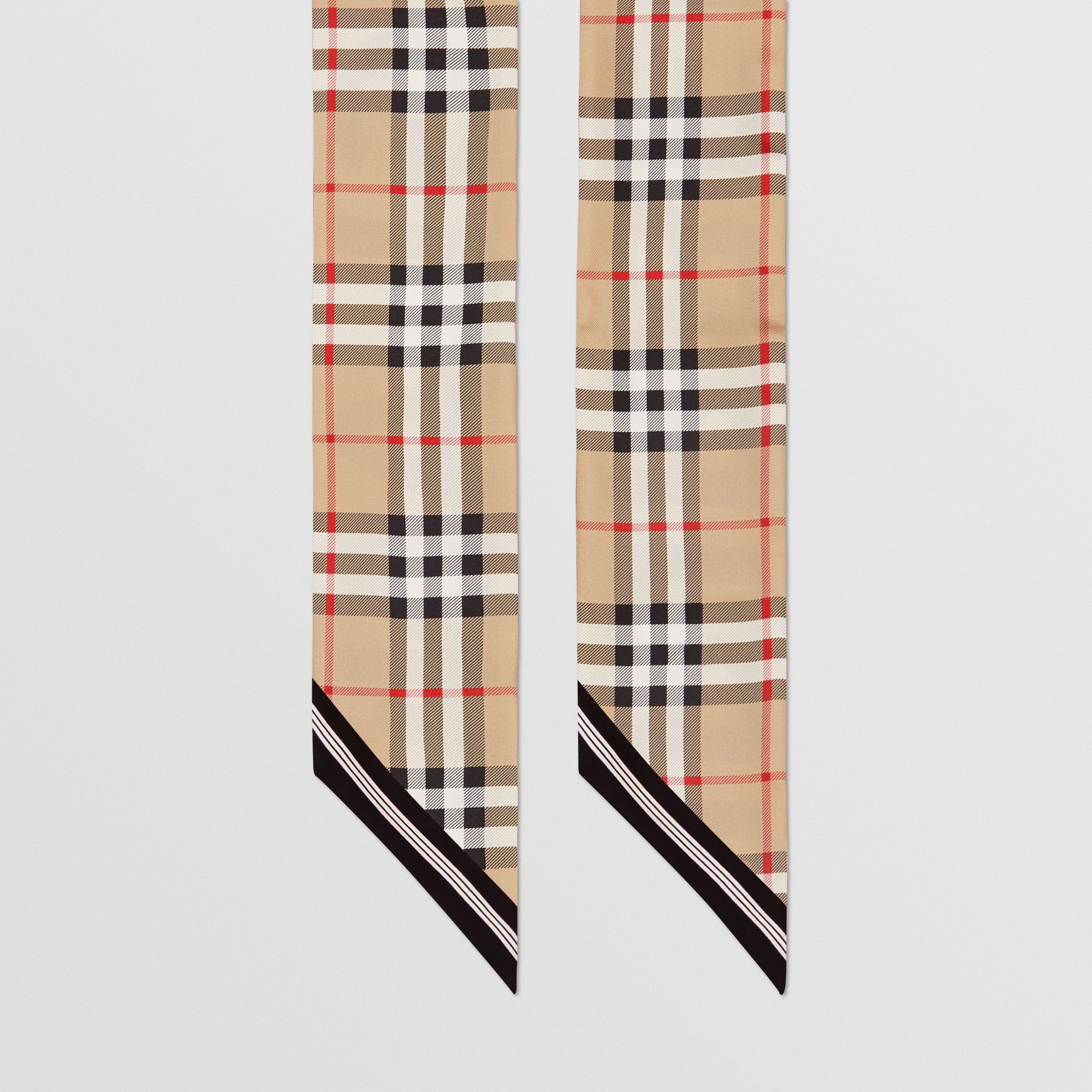 Vintage Check and Logo Print Silk Skinny Scarf in Archive Beige | Burberry - 4