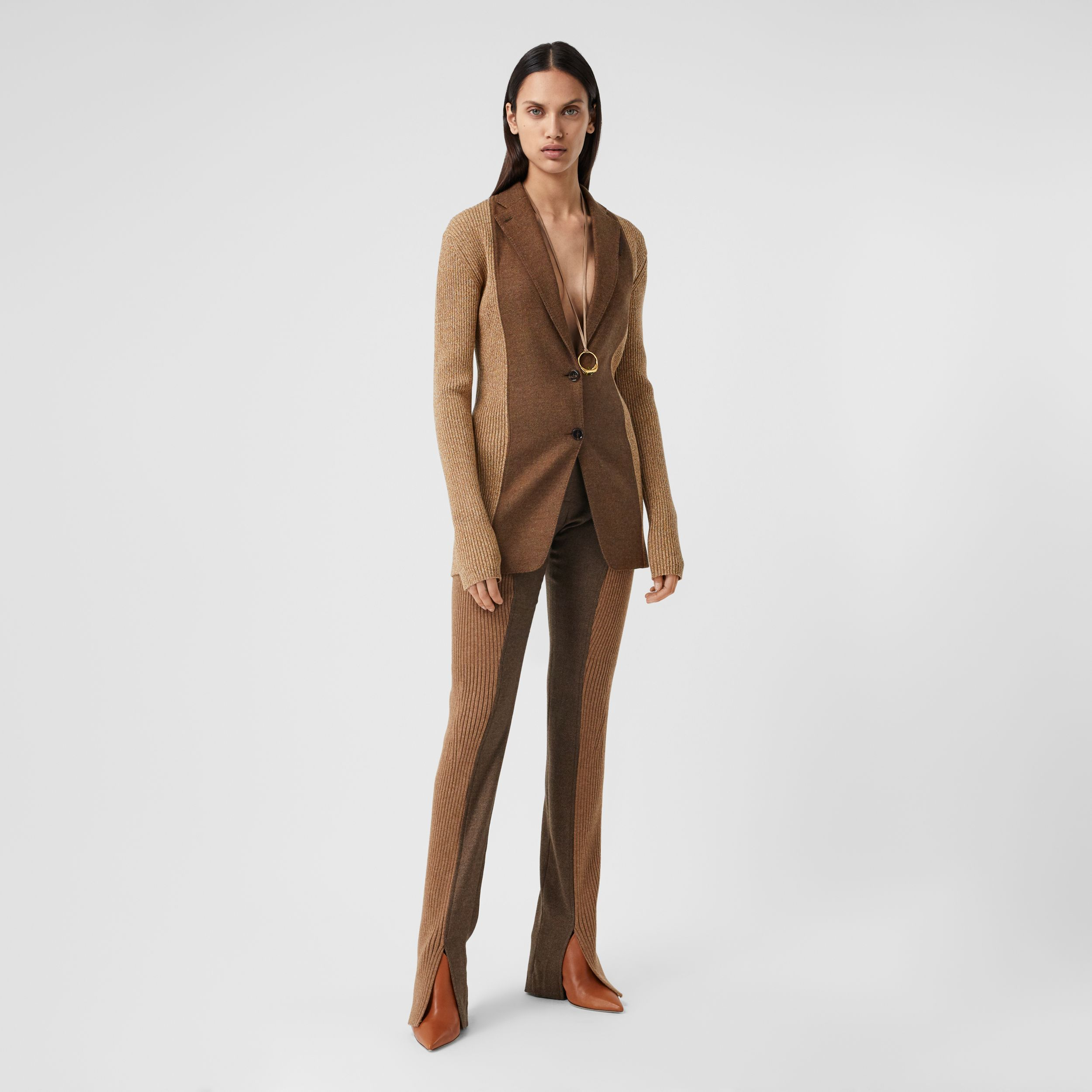 Rib Knit Panel Wool Cashmere Tailored Trousers in Dark Tan - Women | Burberry - 1