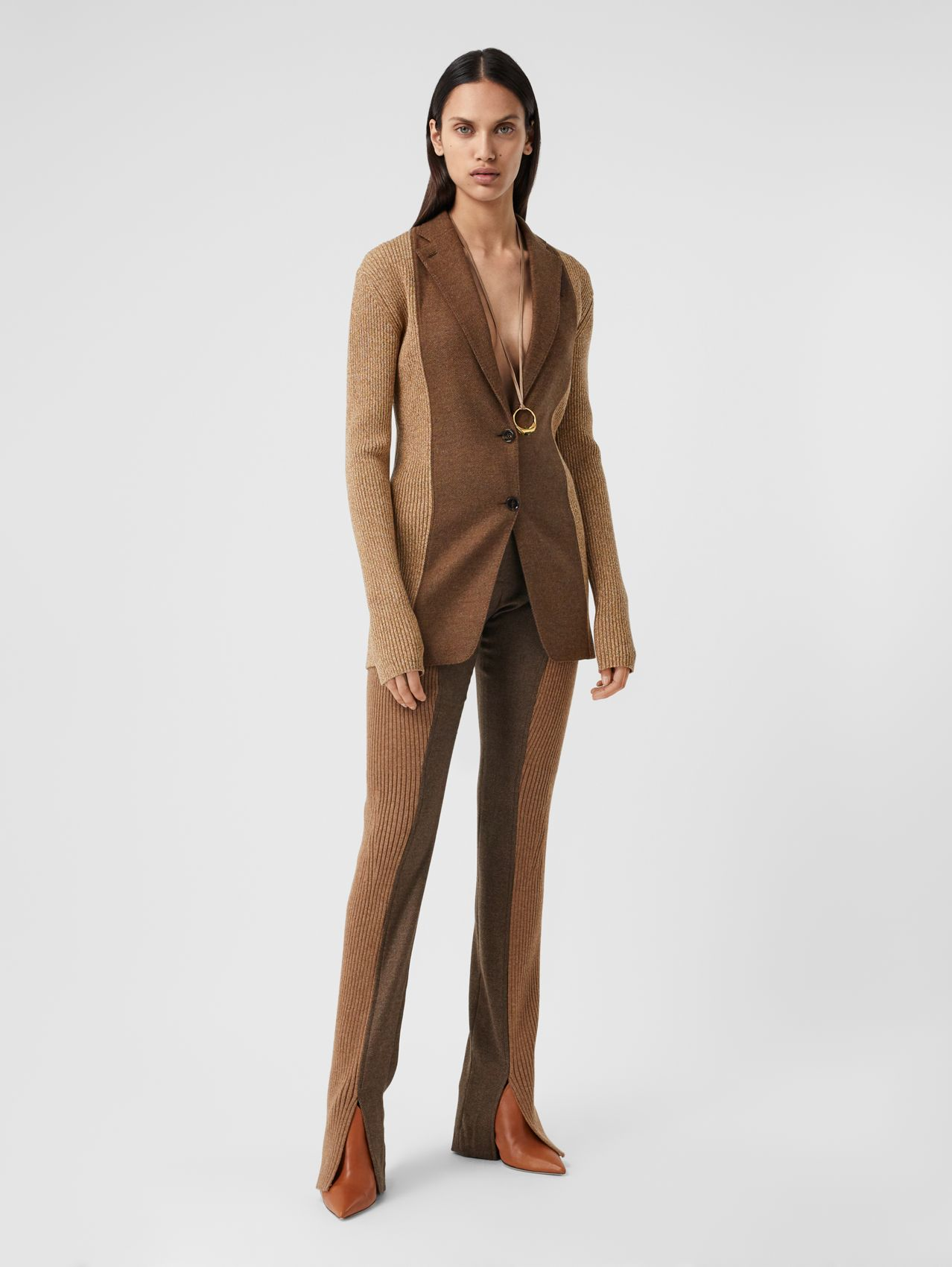 Rib Knit Panel Wool Cashmere Tailored Trousers in Dark Tan