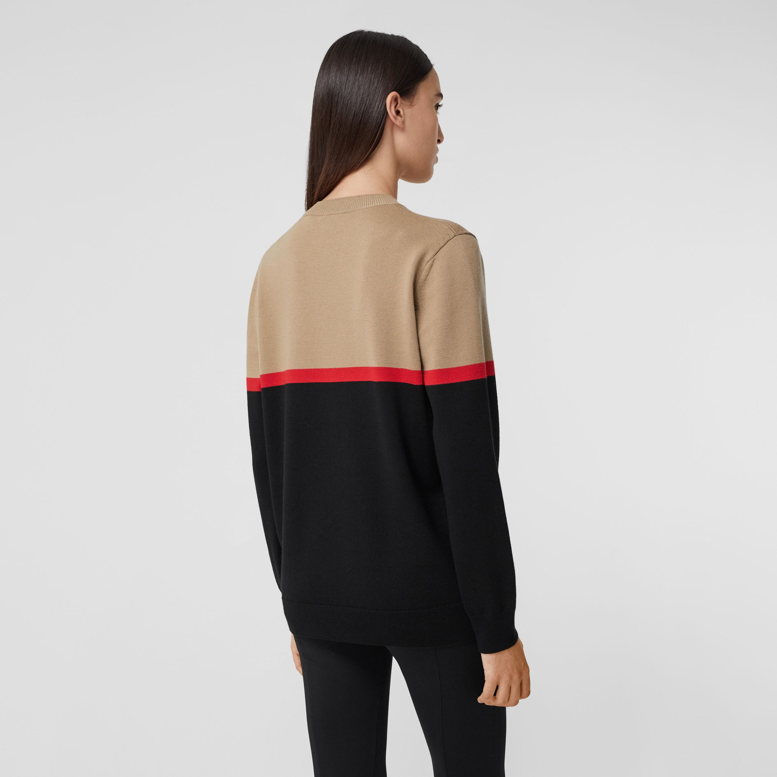 Colour Block Merino Wool Cotton Sweater in Black - Women | Burberry - 3