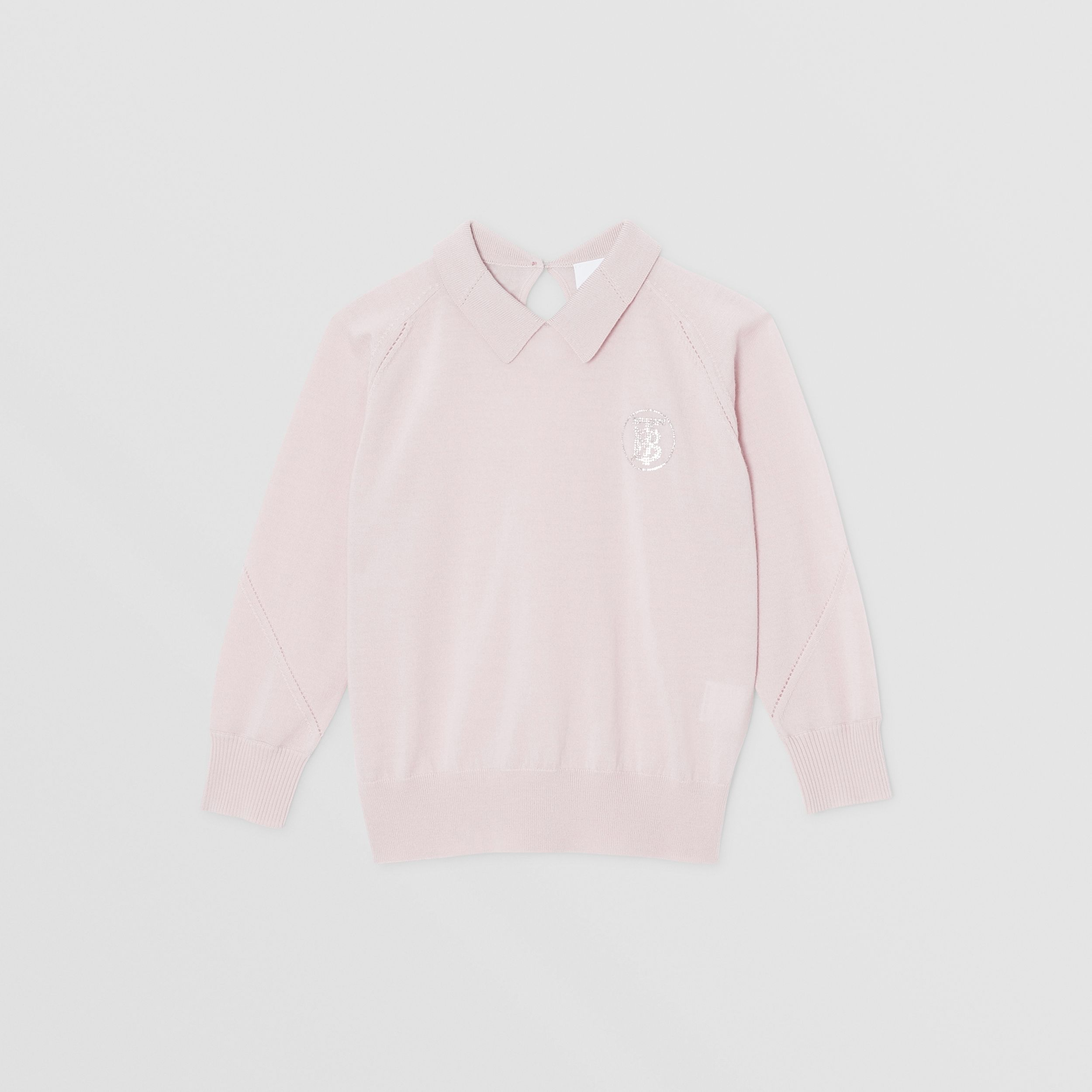 Crystal Monogram Motif Merino Wool Sweater in Light Pink | Burberry - 1