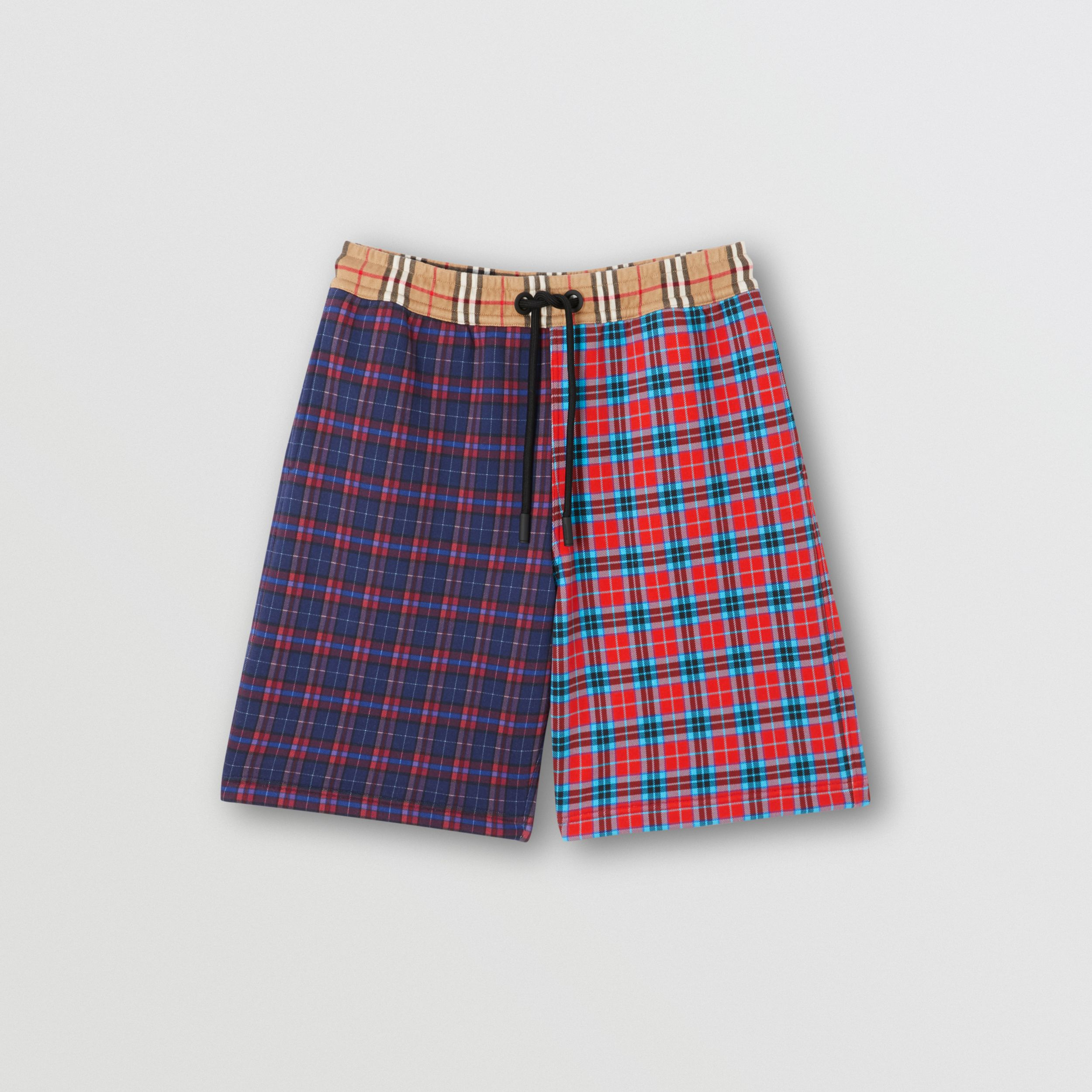 Patchwork Check Cotton Blend Drawcord Shorts in Navy - Men | Burberry - 4