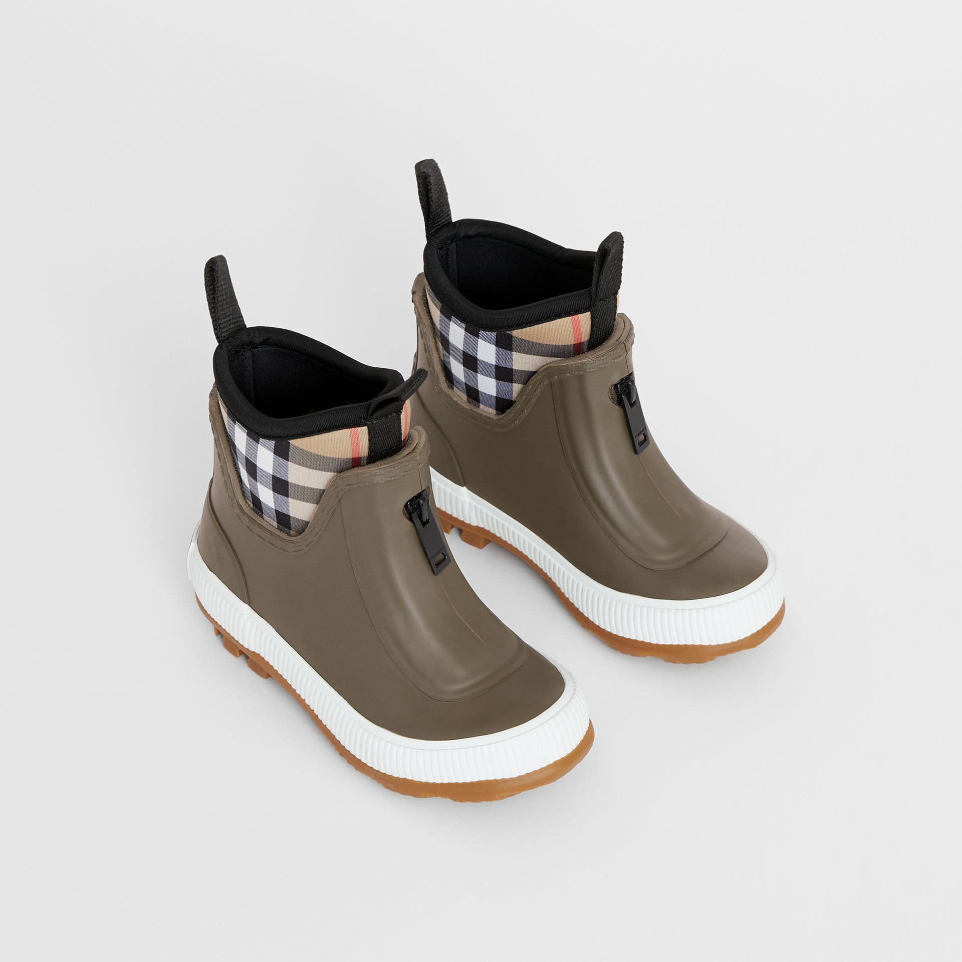 Vintage Check Neoprene and Rubber Rain Boots in Military Green - Children | Burberry - gallery image 0