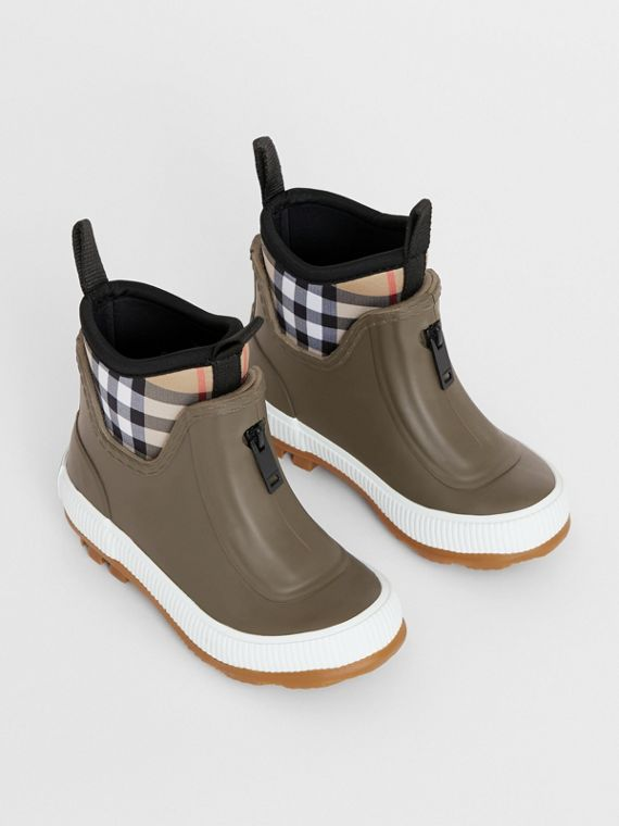 Vintage Check Neoprene and Rubber Rain Boots in Military Green