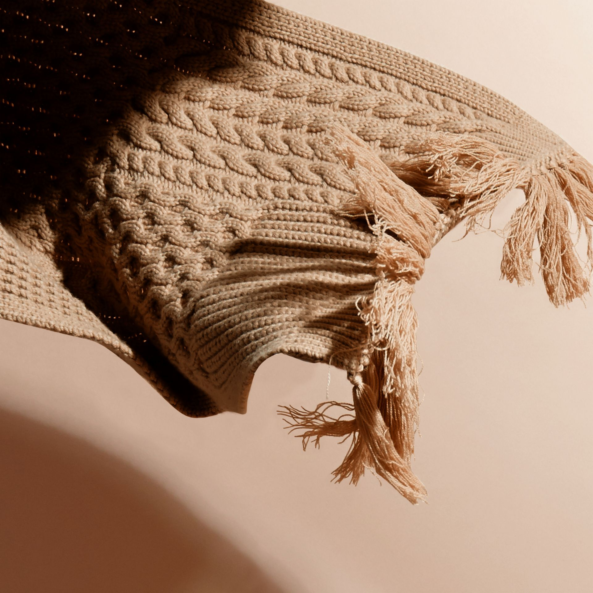 Camel Oversize Aran Knit Wool Cashmere Scarf Camel - gallery image 4