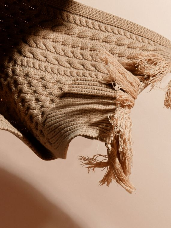 Camel Oversize Aran Knit Wool Cashmere Scarf Camel - cell image 3
