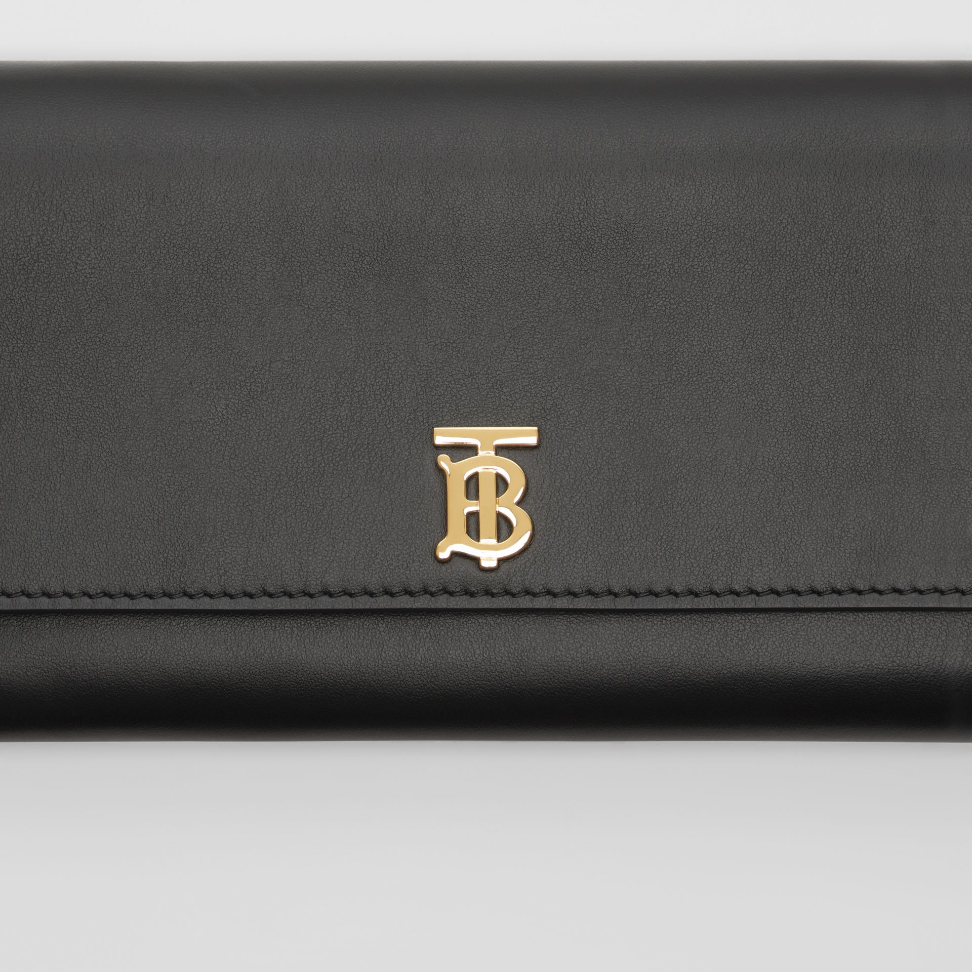 Monogram Motif Leather Wallet with Detachable Strap in Black - Women | Burberry - gallery image 1