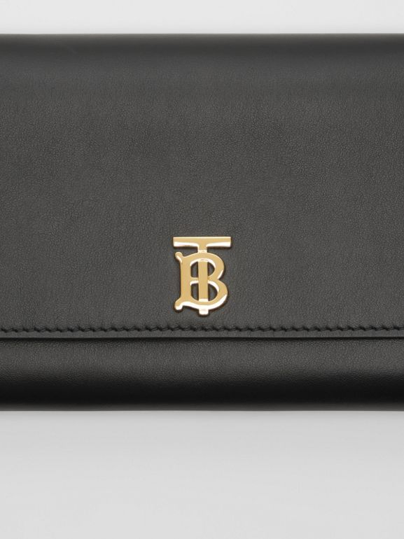 Monogram Motif Leather Wallet with Detachable Strap in Black - Women | Burberry Australia - cell image 1