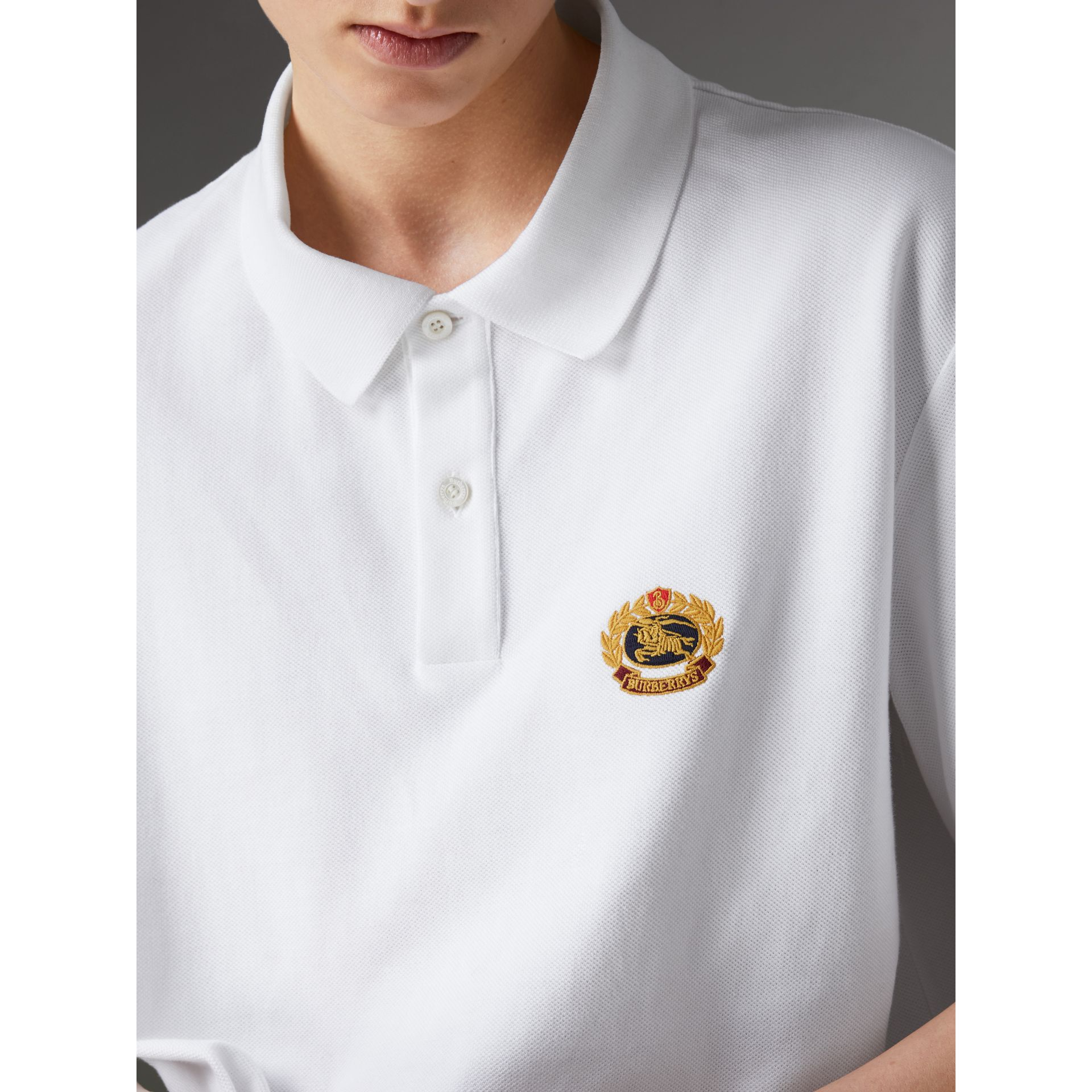 Reissued Cotton Polo Shirt in White - Women | Burberry United Kingdom - gallery image 1