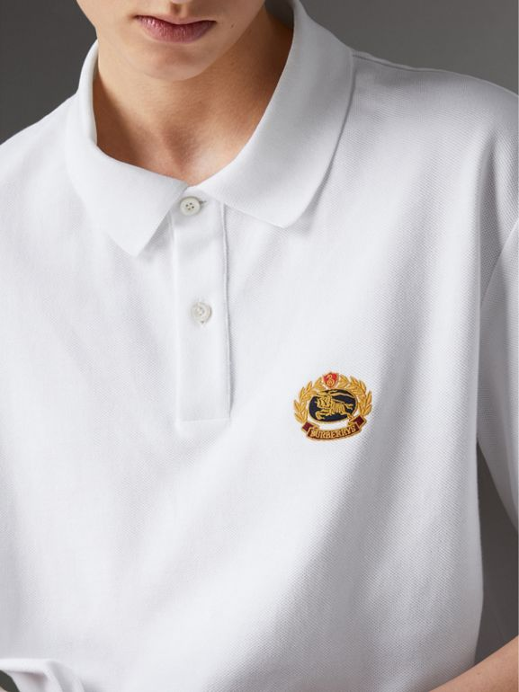 Reissued Cotton Polo Shirt in White - Women | Burberry - cell image 1