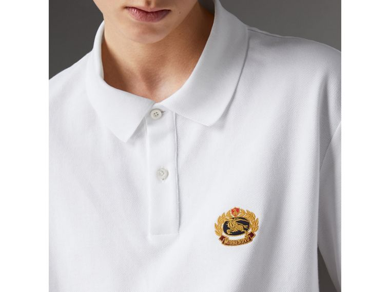 Reissued Cotton Polo Shirt in White - Women | Burberry United Kingdom - cell image 1