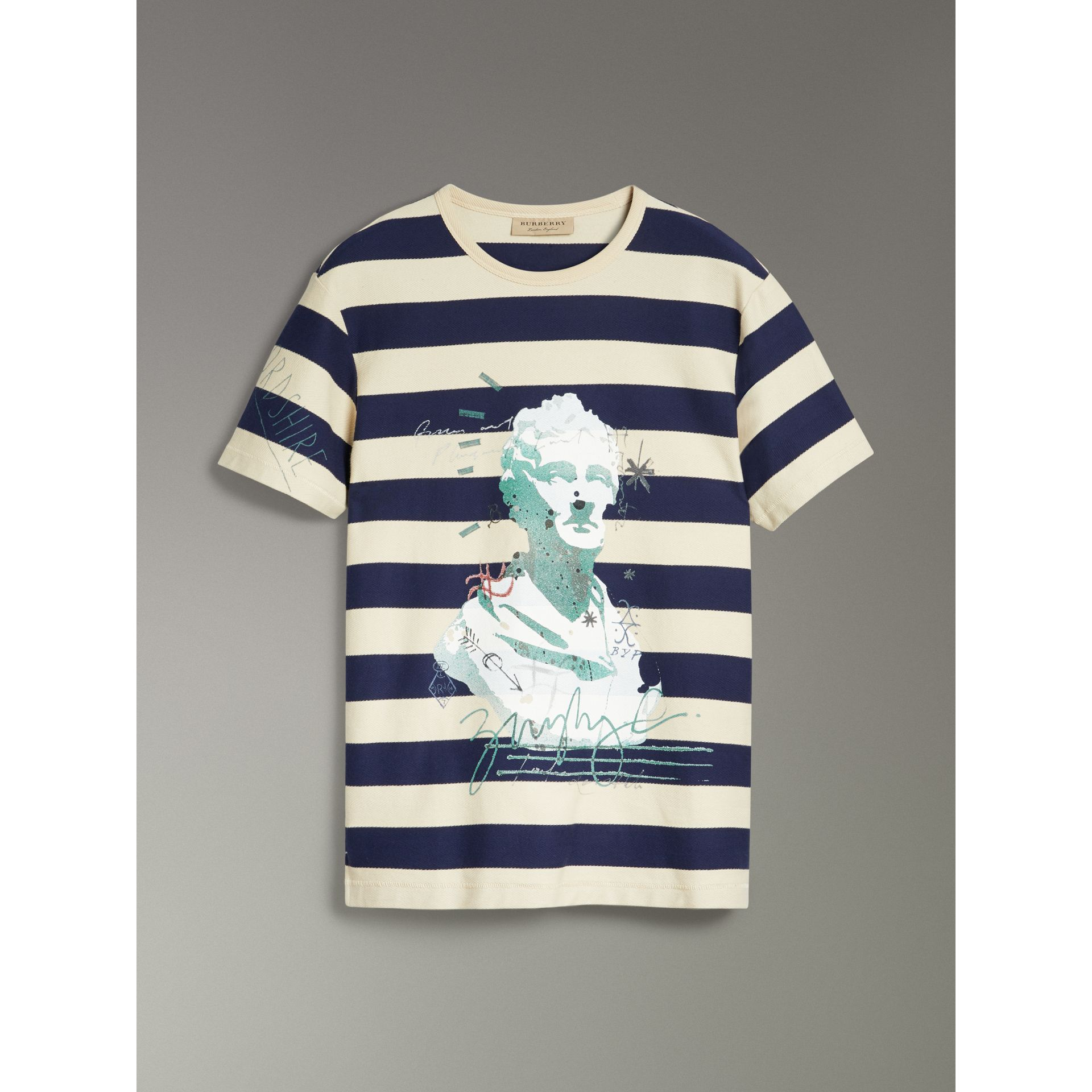 Bust Print Striped Cotton T-shirt in Off White/navy - Men | Burberry United Kingdom - gallery image 3
