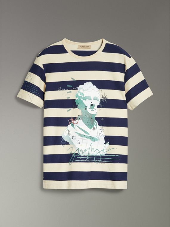 Bust Print Striped Cotton T-shirt in Off White/navy - Men | Burberry - cell image 3