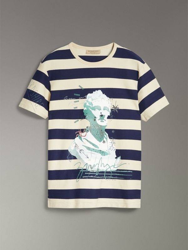 Bust Print Striped Cotton T-shirt in Off White/navy - Men | Burberry United Kingdom - cell image 3