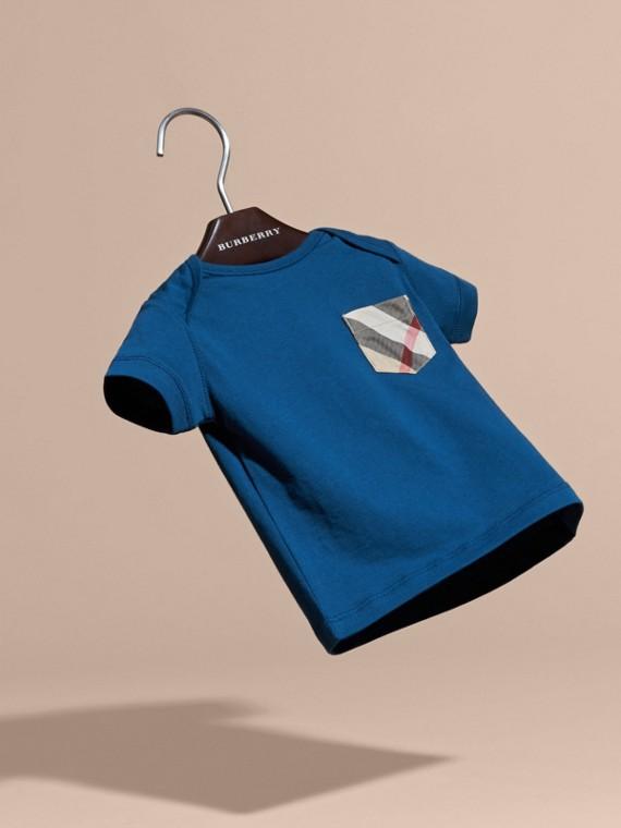 Blu minerale T-shirt con tasca con motivo check Blu Minerale - cell image 2
