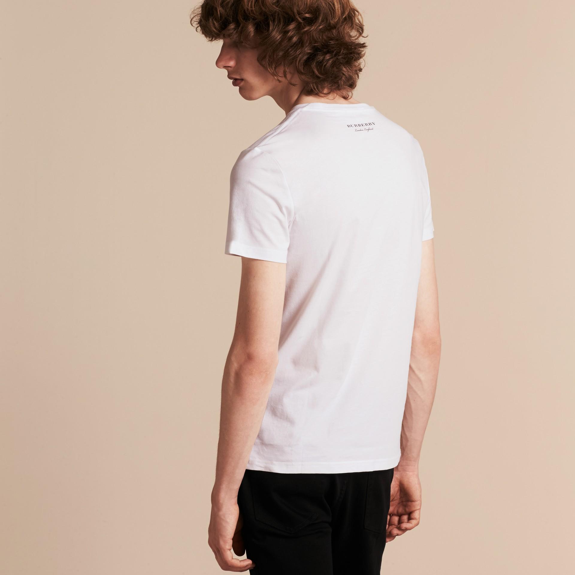 Branco Camiseta de algodão com estampa do Big Ben - galeria de imagens 3