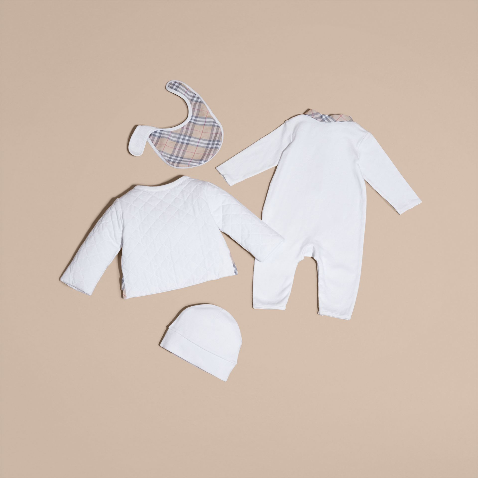 Check Detail Four-piece Baby Gift Set in White | Burberry - gallery image 3