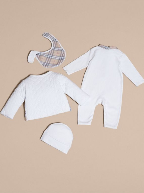 Check Detail Four-piece Baby Gift Set in White | Burberry - cell image 2