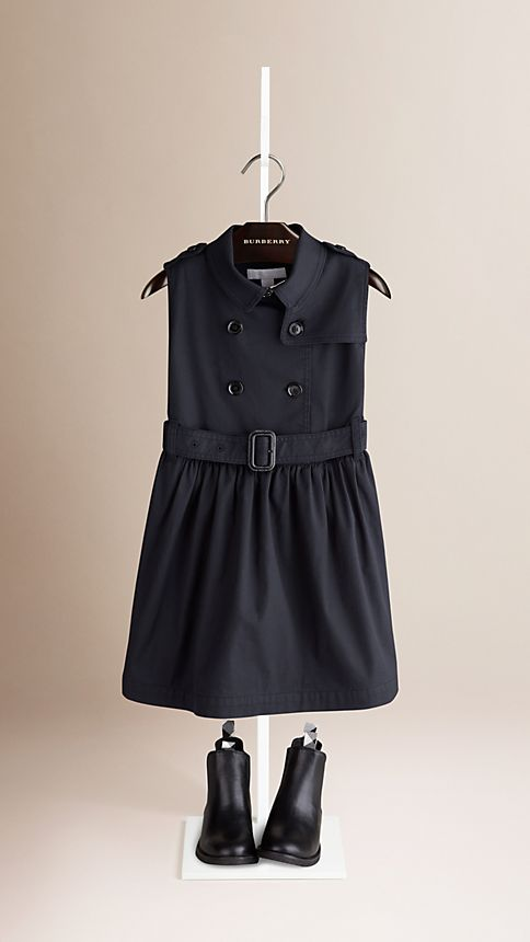Navy Sleeveless Stretch Cotton Trench Dress - Image 1